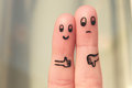 Finger Art Of Couple. Woman Showing Thumbs Up And Man Showing Thumbs Down. Royalty Free Stock Photo - 78451095