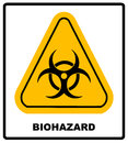 Biohazard Symbol Sign Of Biological Threat Alert, Black Yellow Triangle Signage Text, Isolated Stock Image - 78480811