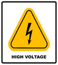 High Voltage Sign. Danger Symbol. Black Arrow Isolated In Yellow Triangle On White Background. Warning Icon. Vector Royalty Free Stock Photo - 78480815