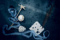 Vintage. Christmas Decorations - Lace, Star, Ball, Bump, Old Scissors. Top View Royalty Free Stock Image - 78484636