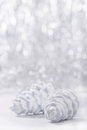 Silver And White Christmas Ornaments On Glitter Bokeh Background With Space For Text. Xmas And Happy New Year Royalty Free Stock Photo - 78510665