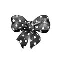 Watercolor Illustration Halloween Black Polka Dot Bows. Stock Image - 78511271
