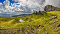 Panoramic View Of The Rock Formation The Old Man Of Storr (Isle Of Skye, Scotland) Royalty Free Stock Images - 78514619