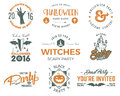 Halloween 2016 Party Labels Templates With Scary Symbols - Zombie Hand, Witch Hat, Bat, Pumpkin And Typography Elements Stock Images - 78516124