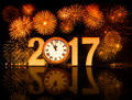 2017 New Year Fireworks With Clock Face Royalty Free Stock Images - 78537009