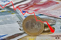 Graph Showing The Decline Of Euro Paper Currency And Coins Royalty Free Stock Photos - 78537948