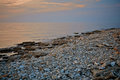Seascape View. Rocky Beach In Evening. Pebble Shore. Tinted Photo Stock Photo - 78538940