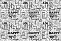 Seamless Pattern With Words: Happy, Joy, Laugh, Smile, Happiness, Lol, Love, Fun, Cheers. Vector. Transparent Background. Royalty Free Stock Image - 78563856