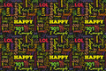 Colorful Seamless Pattern With Words: Happy, Joy, Laugh, Smile, Happiness, Love, Fun, Cheers. Vector. Black Background. Stock Image - 78564231