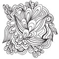 Hand Drawn Artistic Ethnic Ornamental Patterned Floral Frame In Doodle Style,adult Coloring Pages,tattoo. Royalty Free Stock Image - 78570986