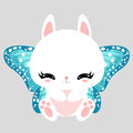 Little Cute White Bunny With Blue Butterfly Wings. Romantic Character. Greeting Card. Beautiful Sticker. Royalty Free Stock Photography - 78571537
