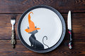 Halloween Table Setting Decoration. Top View Royalty Free Stock Photography - 78578897