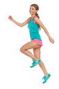 Jumping Woman In Sports Clothes Stock Images - 78596794