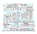 City Life - Line Design Composition Royalty Free Stock Image - 78600536