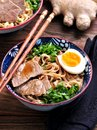 Soup With Soba Noodles, Beef, Ginger, Green Onions And Egg. Stock Image - 78601961