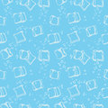 Ice Cube Babbles And Water Blue Textile Print Seamless Pattern. Stock Photo - 78610150