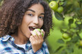 Mixed Race African American Girl Teenager Eating Apple Stock Photos - 78619523