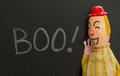 Vintage Toy Clown Shouting BOO. Chalk On Slate. Royalty Free Stock Photo - 78623205