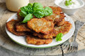 Potato Pancakes And Sour Cream In Plate Stock Image - 78624681