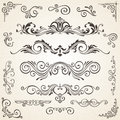 Vector Set Of Swirl Elements And Corners For Design. Calligraphic Page Decoration, Labels, Banners, Baroque Frames Stock Photography - 78632822