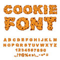 Cookies Font. Biscuits With Chocolate Drops Alphabet. Letters Of Stock Photos - 78635763