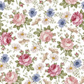 Seamless Pattern. Realistic Isolated Flowers. Vintage Baroque Background. Chamomile Rose. Wallpaper. Drawing Engraving. Royalty Free Stock Image - 78640876