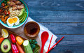 Japanese Noodles Bowl With Chicken, Carrots, Avocado Stock Photography - 78649742