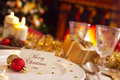 Christmas Table With Fireplace And Christmas Tree Royalty Free Stock Photography - 78658847