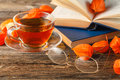 Hot Coffee, Vintage Book, Glasses And Autumn Leaves On Wood Back Royalty Free Stock Photo - 78684885