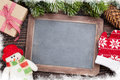 Christmas Chalkboard, Snowman And Fir Tree Royalty Free Stock Photo - 78689925