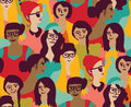 Woman Only Crowd Group Color Seamless Pattern Royalty Free Stock Photography - 78694217