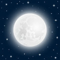 Moon Close Up At The Sky With Shining Stars Stock Image - 78701281