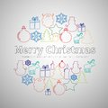 Merry Christmas Flat Line Simple Set In Circle Shape, Christmas Royalty Free Stock Photos - 78705158
