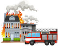 Fire Scene With Fire Truck Royalty Free Stock Images - 78706329