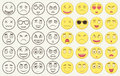 Set Of Outline And Colorful Emoticons, Emoji Isolated On White Background. Emoticon For Web Site, Chat, Sms. Vector Stock Photography - 78730272