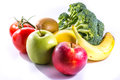 Colorful Group Of Fresh Foods Broccoli Banana Apples Kiwi Tomato Stock Photos - 78751483