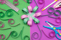 Hand Made Flower With Ruler Pen Scissors And Stapler Royalty Free Stock Photo - 78769705