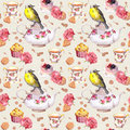 Teatime: Tea Pot, Cup, Cakes, Rose Flowers, Bird. Seamless Pattern. Watercolor Stock Photos - 78781513