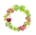 Wreath Border With Grape, Wine Glass And  Leaves. Watercolor Circle Frame Stock Image - 78787761
