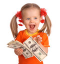 Baby Girl With Dollar Banknote. Royalty Free Stock Photo - 7886855
