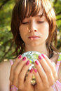 Girl With Glass Ball In Hands Stock Photo - 7889020