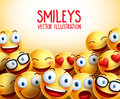 Smiley Faces Vector Background With Different Facial Expressions Stock Image - 78810381