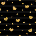 Golden Hearts Stripes Seamless Pattern Royalty Free Stock Images - 78815739
