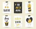Cute Doodle Black And Gold Birthday Cards Stock Photography - 78818522