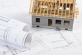 Small House Under Construction And Electrical Drawings, Concept Of Building Home Stock Image - 78821491