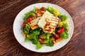 Grilled Halloumi Cheese Salad Witch Orange, Tomatoes And Lettuce. Healthy Food Stock Photo - 78843230