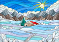 Stained Glass Illustration With Abstract Winter Landscape,a Lonely House Amid Fields, Mountains , Sky And Falling Snow Stock Photography - 78851022