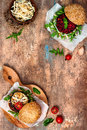 Vegan Grilled Eggplant, Arugula, Sprouts And Pesto Burger. Veggie Beet And Quinoa Burger. Top View, Overhead, Flat Lay. Copy Space Royalty Free Stock Images - 78871189