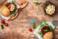 Vegan Grilled Eggplant, Arugula, Sprouts And Pesto Burger. Veggie Beet And Quinoa Burger. Top View, Overhead, Flat Lay. Copy Space Stock Photo - 78871240