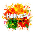 Text Harvest Festival In Paper Style On Multicolor Background With Autumn Leaves. Stock Photos - 78873633